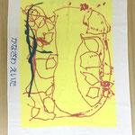 黄色の画用紙に描いたイラスト。なぐり書きもとっても良い味に♪
