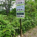 3・6・12kmコース表示板 この表示板を見て残り何kmと計算しながら歩きました
