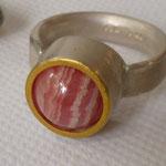 Silber-Wechselsteinring Goldauflage Feingold. Verschiedene 10 mm Steinkugeln