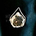 Pendant. Sterling silver and ammonite, 4 centimetres. - Inquire at info@hettmannstudio.com or (705) 377-4625.
