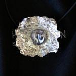 Pendant. Sterling silver and pearl, 4 centimetres. - Inquire at info@hettmannstudio.com or (705) 377-4625.