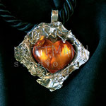 Pendant. Sterling silver and amber, 7 centimetres. - Inquire at info@hettmannstudio.com. or (705) 377-4625.