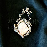 Pendant. Sterling silver and freshwater pearl, 4.5 centimetres. - Inquire at info@hettmannstudio.com or (705) 377-4625.
