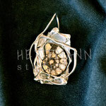 Pendant. Sterling silver and ammonite, 5 centimetres. - Inquire at info@hettmannstudio.com or (705) 377-4625.