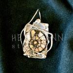 Pendant. Sterling silver and ammonite, 5 centimetres. - Inquire at info@hettmannstudio.com or (705) 377-4625.