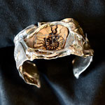Cufflink bracelet. Sterling silver and ammonite, 4 centimetres wide. - Inquire at info@hettmannstudio.com or (705) 377-4625.