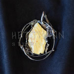 Pendant. Sterling silver and amber, 7 centimetres. - Inquire at info@hettmannstudio.com or (705) 377-4625.