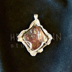 Pendant. Sterling silver and freshwater pearl, 5 centimetres. - Inquire at info@hettmannstudio.com or (705) 377-4625.