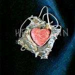 Pendant. Sterling silver and coral, 5 centimetres. - Inquire at info@hettmannstudio.com or (705) 377-4625.