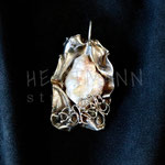 Pendant. Sterling silver and freshwater pearl, 6 centimetres. - Inquire at info@hettmannstudio.com or (705) 377-4625.