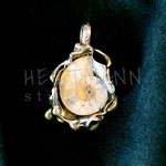 Pendant. Sterling silver and ammonite, 5 centimetres. - Inquire at info@hettmanstudio.com or (705) 377-4625.