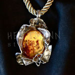 Necklace. Sterling silver and amber, 7.5 centimetres. - Inquire at info@hettmanstudio.com or (705) 377-4625..