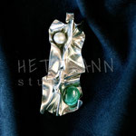 Pendant. Sterling silver, pearl, and malachite, 6 centimetres. - Inquire at info@hettmannstudio.com or (705) 377-4625.