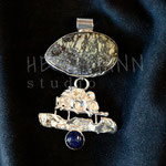 Pendant. Sterling silver, shell, and lapis, 7.5 centimetres. - Inquire at info@hettmannstudio.com or (705) 377-4625.