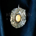 Pendant. Sterling silver and amber, 6 centimetres. - Inquire at info@hettmannstudio.com or (705) 377-4625.