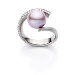 Ring, Brillanten, Süßwasser Perle, Weissgold