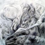 """""""Die Lesende"""" - Graphit und Öl auf Leinwand, 80 x 80 cm"""