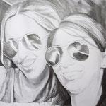 """""""Selfie"""" - Graphit/Bleistift auf Papier, 100 x 70 cm"""