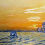 """""""Morgens im Hafen"""" - Acryl auf Leinwand, 80 x 120 cm"""