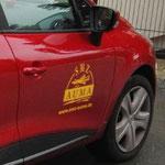 SMZ AUMA ::: Heckscheibenaufkleber, Beispiel Beklebung Autotür