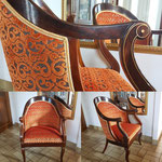 Fauteuil d'epoque Charles X, tissu Luciano marcato