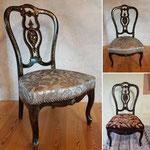 Petite chaise Napoléon 3, bois laqué noir et or avec des incrustations de nacre dans toute sa splendeur.
