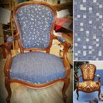 Fauteuil Louis-Philippe de Cestas, tissu bleu
