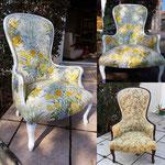 Inspiration florale pour ce fauteuil Louis-Philippe