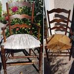 Chaise assise en paille remplacé par en tissus