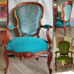 Fauteuil Louis-Philippe de Pessac, tissu turquoise de chez Casal