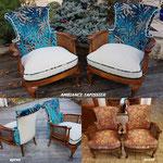 Recouverture de fauteuils de style Anglais, tissu bleu canard