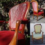 Fauteuil Louis-Philippe refaite à neuf par votre tapissier décorateur, tissus Casal