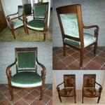 Restoration de deux fauteuils époque Restauration