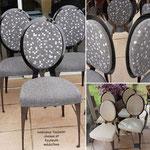 Série de chaises et de fauteuils médaillons design CANTORI avant-après
