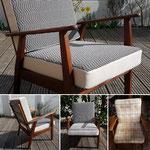 Création de coussins pour ce jolie fauteuil scandinave des année 50, vintage par Ambiance Tapissier