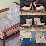 Fabrication de coussins pour deux fauteuils des années 50/60, attribué à Arne Vodder.