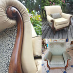 Fauteuil confortable mélange tissu et cuir