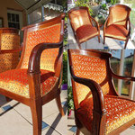 Fauteuils Empire velours orange