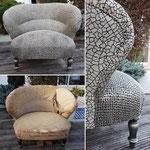 Magnifique fauteuil Crapaud restauré et relooké