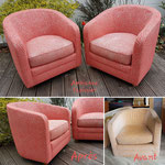 Paire de fauteuils tonneau, modernisés grasse au  accord de deux tissus rouge.