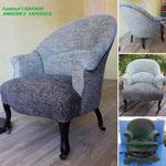 Recouverture et refection à neuf de l'assise de fauteuil CRAPAUD. Style vintage
