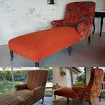 Meridienne de style Anglais, tissu Jungle orange de chez Cazal