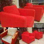 Réfection de tissu de deux fauteuils moderne
