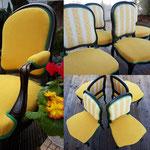 Refaiction de deux fauteuils et 4 chaises Napoleon III noir, tissu jaune AMARA de Casal