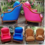 Nos clientes ont choisi des couleures vives inspirant la joie de vivre, pour ces deus Bergères confortables.