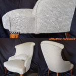 Voici le petit fauteuil Crapaud légèrement modernisé par le tissu Casal