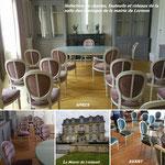 Refection de fauteuils et chaises medaillon style Louis XVI pour la salle de mariage de la mairie de Lormont