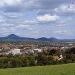 Blick auf die 3 Kaiserberge (Hohenstaufen, Rechberg, Stuifen).
