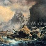 """""""Nordisches Gebirge im Winter"""" nach Andreas Achenbach (350x260cm) Stofffarbe auf Leinwand"""