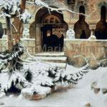 """""""Klosterfriedhof im Schnee"""" nach K.F.Lessing (373x272cm) Stofffarbe auf Leinwand"""